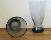 1970s Barware - 4 Super Mod SMOKE GREY Pilsner Glasses with Weighted Base - vintage drinking glasses