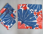 4 Early 60s Mod Vera Napkins, vintage kitchen linens, blue and red floral graphics - cammoo
