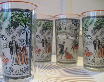 vintage 1950s Currier & Ives Frosted 12oz Beverage Glasses, Skating in the Park and A Summer Ramble,  IN ORIGINAL Box