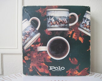 POLO Ralph Lauren, vintage 1980s Equestrian Prep, set of 4 ceramic Coffee Mugs in the Original Box