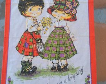 1970s BEST FRIENDS Cotton Tea Towel, vintage Linen Dish Towel - A little kindness goes a long way