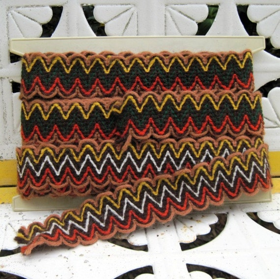 yards and yards and yards of Vintage 1970s Zig Zag CHEVRON STRIPE Colorful Brown, Orange, and Gold Trim