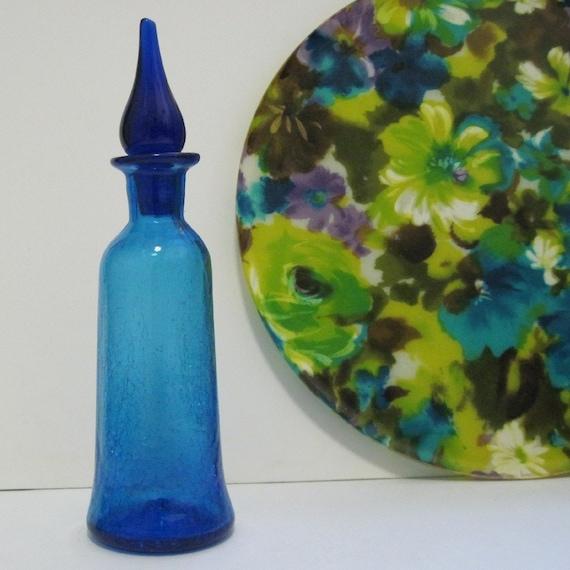 1960s Cobalt Blue ART GLASS Genie Bottle, vintage hand blown decanter