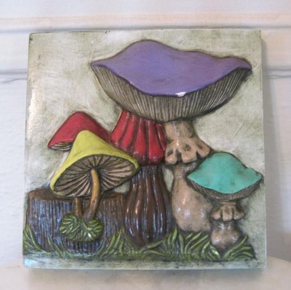 1970s Magical Mushroom Ceramic Tile Wall Plaque Hot Plate