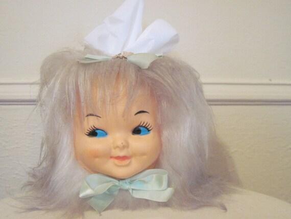 On Hold .....vintage 1960s Doll Head Tissue Box Cover Dispenser