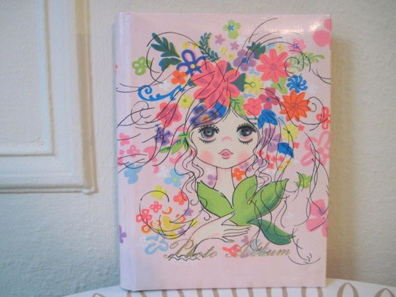1960s MOD Flower Girl Photo Album - vintage Guest Book - retro keepsake