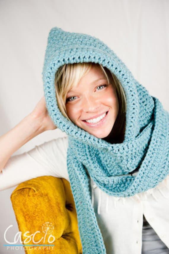 Crochet Pattern, Hooded Scarf, Wonderfully Warm Winter Hood & Scarf - Instant Download