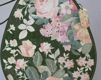 FREE SHIPPING- Vintage Floral Upcycled Tear shaped Carry on Case OOAK Luggage by My Cozy Cottage Designs