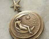 Locket Necklace - Moon Necklace - Moon Locket - VIintage Brass jewelry - Goddess Necklace - handmade jewelry