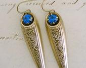 Vintage Earrings - Victorian Dagger Earrings - Sapphire Earrings -  Vintage Brass jewelry - handmade jewelry