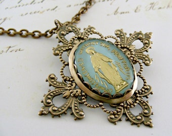 Vintage Necklace - Cross Necklace - Mother Mary Necklace - Vintage Brass Necklace - Chloe handmade jewelry