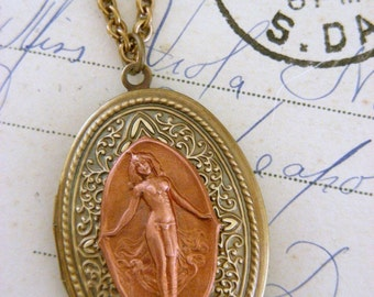 Locket Necklace - Egyptian Locket - Vintage Necklace - OOAK - Goddess Necklace - Chloe's Handmade Jewelry