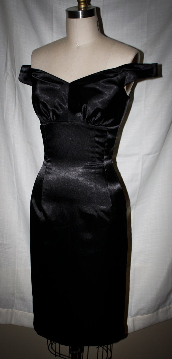 Pinup-Marilyn Style Wiggle Dress- Stretch Satin Off-Shoulder-Custom Sized