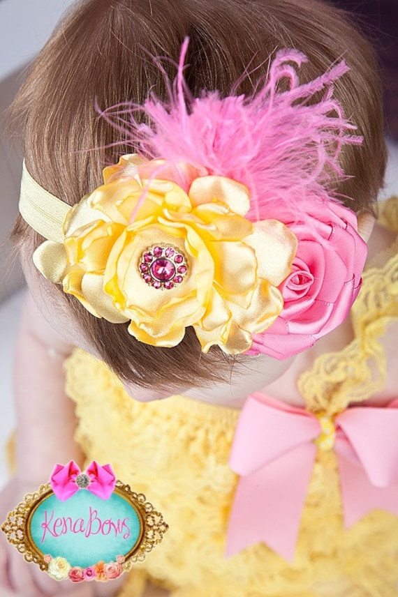 Yellow, Hot Pink, Satin Flower, Ribbon Rosette, Curly Ostrich, Pink Lemonade Headband, Spring, Easter