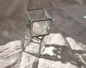 Beveled Glass Candleholder small pedestal tealight