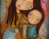 Mother and baby wall art print  new mother nursery mixed media art collage blue brown ochre