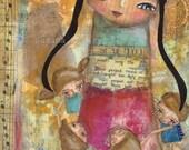 Music - teacher and children art print mixed media collage