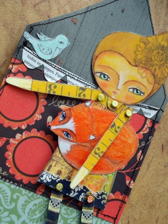 INSTANT DOWNLOAD Paper doll and fox set house words collage sheet woodland yellow orange brown