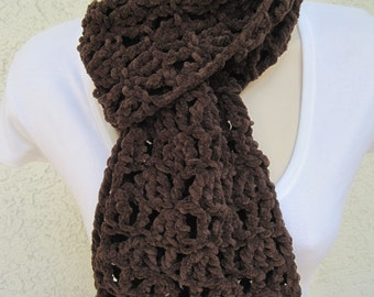 CLEARANCE Chocolate Suede Lace Scarf