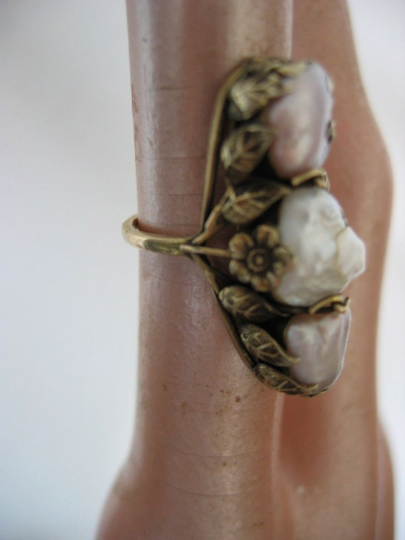 antique arts and crafts pearl ring freshwater baroque pearls