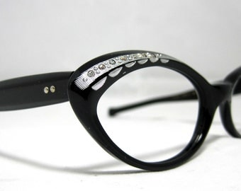 Vintage 50s Cat Eye Glasses. New Old Stock Black and Silver with Rhinestones