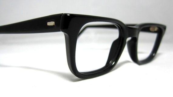 Vintage 50s Mens EyeGlasses. Black Horn Rim Mad Men Frames Glasses.