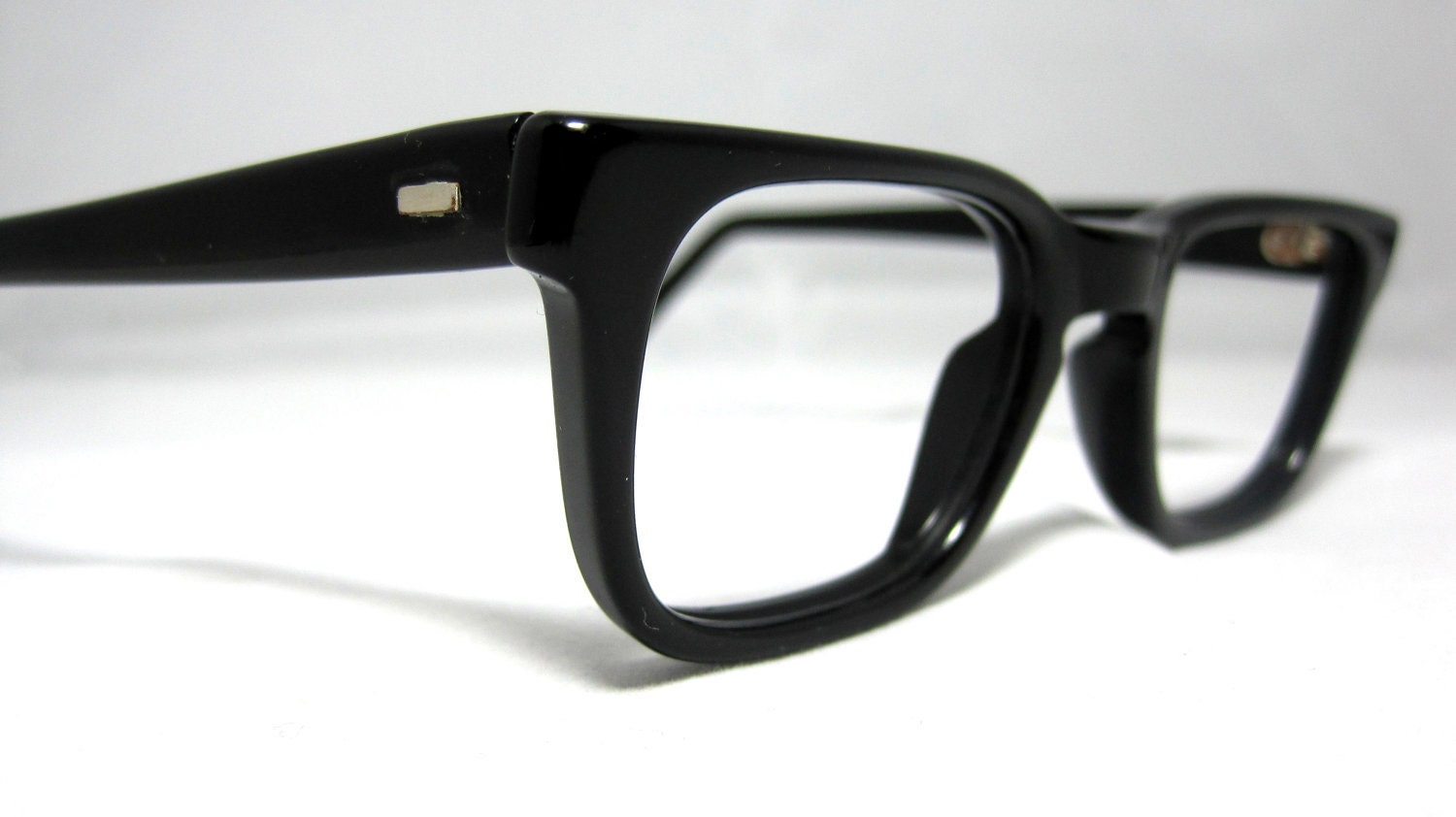Vintage Black Frame Glasses : Vintage 50s Mens EyeGlasses. Black Horn Rim Mad Men Frames