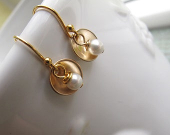 Small Gold Earrings, Tiny Cups, Gold Filled 14k with White Swarovski Pearls