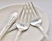 Mr. & Mrs. Vintage Wedding Cake Forks (Matching Set)