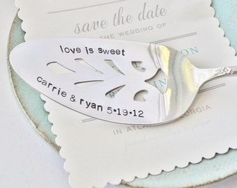 LOVE IS SWEET -Hand Stamped & Personalized Vintage Wedding Cake Server - Add Names of Bride and Groom and their Wedding date