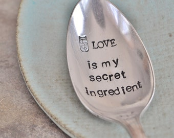 LOVE is my secret ingredient (TM) - Large Hand Stamped Vintage Tablespoon. For the Baker/Cook in your life