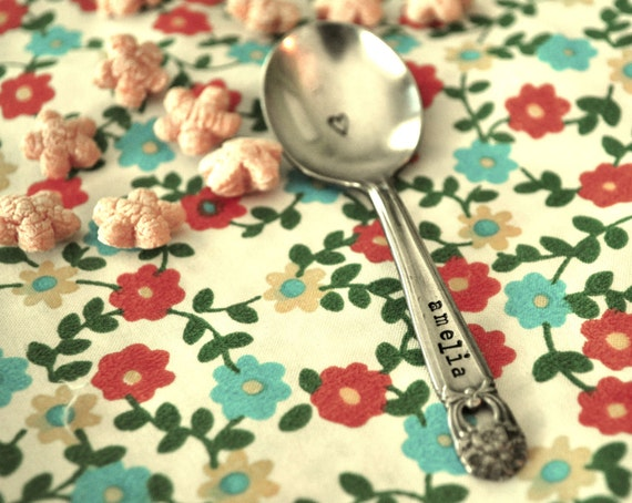 Personalized Vintage Baby Spoon - Hand Stamped & Personalized with Your Baby's Name- AS SEEN IN American Baby Magazine