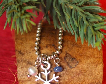 Sterling Silver Snowflake, Pearl, and Sapphire Necklace
