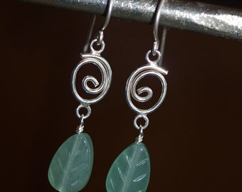 Green Aventurine Leaves and Sterling Silver Earrings