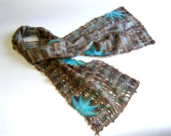 Felted Scarf Stole Shawl Wrap Chocolate Turquoise Fall  Winter Fashion
