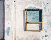wall with cat photograph, architectual decor, white, gray, blue, 12x18 photo print, industrial photography, minimal home decor