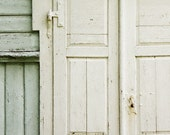 cream and mint entrance. architectural, abstract photography, 5x5 print, wooden doors, hinge, rustic wall decor
