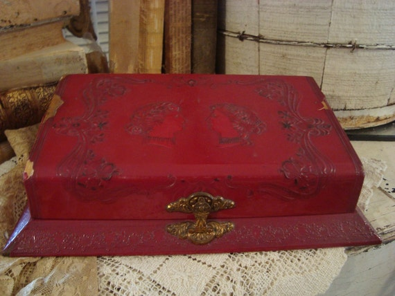 Vintage Shabby chic Ornate Celluloid Red Vanity/Boudoir French Apartment Letter,jewelry,Keep Sake Box Victorian Ladies  Glam.