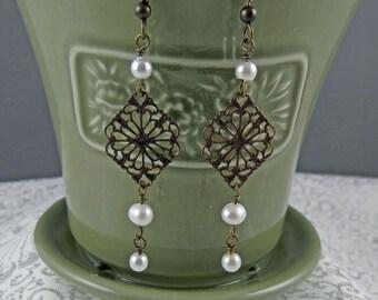 Brass and Pearl Earrings - Bronze Earrings - Victorian Earrings - Brass Earrings - Pearl Earrings - Boho Earrings