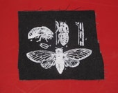 Punk Patch, Cicada Life Cycle Patch - Black - insect, bug patch, science entomology exoskeleton shell punk patches, recycle, nature, forest