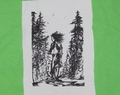 Patch - Forest Bike Ride, Black on White - punk patch, bicycle patch, green anarchy forest wild child nature woman eco warrior earth first