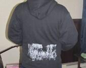 Forest Hoodie - Small Forest Wins, Black- zipper, front pocket, mens sizing, unisex, women, art zip hoody, sweatshirt, nature, punk