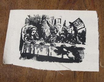 Alice & Wonderland Mad Hatter Tea Party - Screen Print  Black on White Canvas