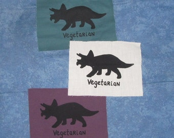 Vegetarian Dinosaur Patch - Triceratops, Black on White Canvas - veg go herbivore punk patches freegan giant lizard awesome screenprint