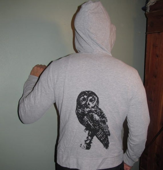 Owl Hoodie - Spotted Owl Print, on Light Grey Zippered Hoody, Medium - zip front gray screenprint image