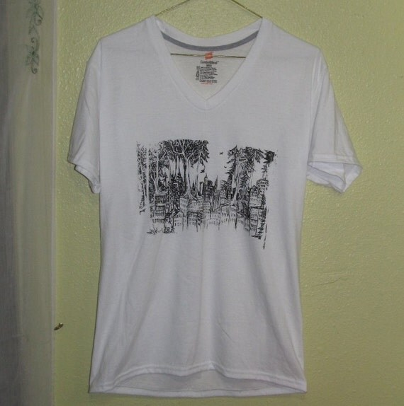 Forest Wins Shirt, Small, Black on White - unisex tshirt, vneck, punk shirt, anarchy, city trees original art women v neck ooak