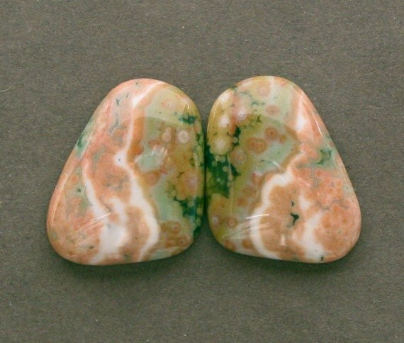 OCEAN JASPER matching pair cabochon 16X23mm two freeform butterfly wing designer cabs