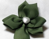 Shamrock Clover hair bow clippie ribbon sculpture St Patricks Day hair accessory