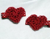 Valentine's heart crochet applique clippie pair hair bow