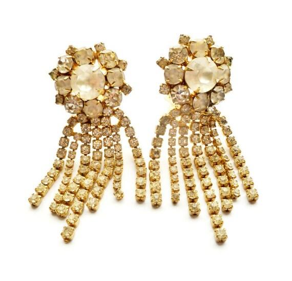 Hobe Chandelier Rhinestone Dangle Earrings Waterfall Bridal Jewelry RESERVED